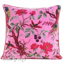 "16"" Pink Velvet Bird Colorful Throw Sofa Cushion Couch Pillo"