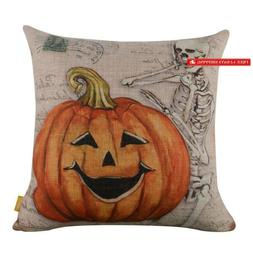 "Linkwell 18""X18"" Retro Skull Ghost With Pumpkin Burlap Cushi"
