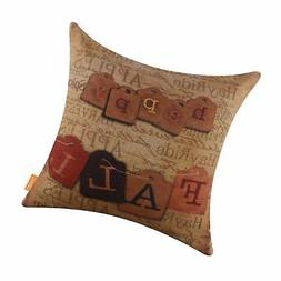 "LINKWELL 18""x18"" Vintage Happy Fall Burlap Cushion Covers Pi"