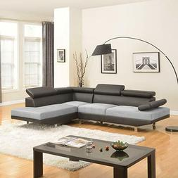 2 Piece Modern Contemporary Gray Faux Leather Sectional Sofa
