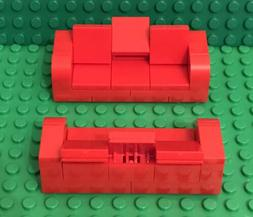 Lego 2 Red Sofa Couches / Recliners Love seats MOC City Home