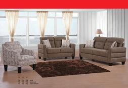 2pc Sofa Set Brown Fabric Cushion Couch Sofa And Loveseat Pi