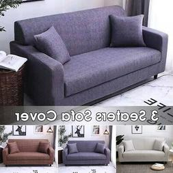 3 Seater Stretch Elastic Sofa Cover Polyester Fabric Slipcov