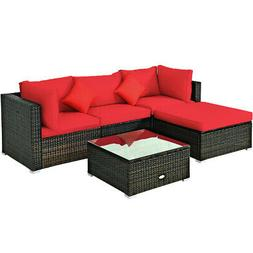 5PCS Outdoor Patio Rattan Wicker Furniture Set Sectional Sof
