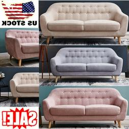 "67""Modern Loveseat Sofa Polyeser Fabric 3 Seater Couch Wood"