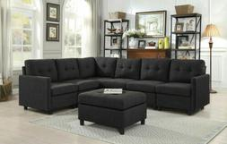 7 Pcs Sectional Modern Sofa Set Couch Microsuede Reversible
