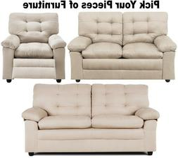 Beige Taupe Tufted Sofa Loveseat &/or Recliner Living Room F
