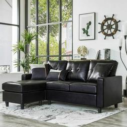 Black Faux Leather Sectional Sofa L-Shaped Couch W/Reversibl