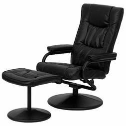 Black Leather Recliner Executive chair With Ottoman Swivel R