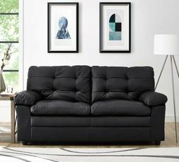 Black Tufted Leather Sofa Apartment Sofas Couches Living Roo