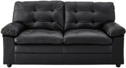 Black Tufted Leather Sofa Living Room Furniture Apartment So