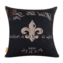 "LINKWELL 18""x18"" Black Word Fleur De Lis Burlap Cushion Cove"
