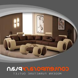 Brown and Beige Franco Sectional Sofa with Ottoman Modern It