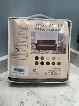 YEMYHOM Brown Sofa Slipcover For 3 Cushion Couch