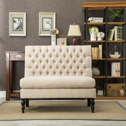 Button Tufted Settee Loveseat Sofa Couch Banquette Upholster