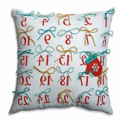 Pillow Perfect Christmas Advent Pillow Red-Aqua 17.5-inch Th