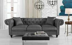 Classic Fabric Sofa Scroll Arm Tufted Button Chesterfield Co