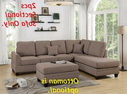 Coffee Living Room 2pc Reversible Sectional L/R Chaise Sofa