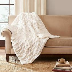 """Madison Park Collection Ruched Long Fur Throw 50"""" x 70"""" Whit"""