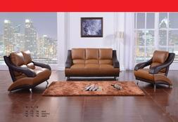 Contemporary 2-Tone Brown Bonded Leather Sofa And Loveseat R
