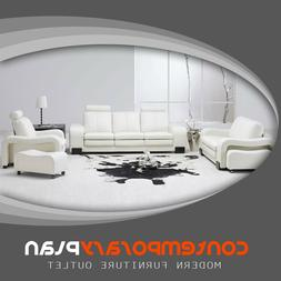 Contemporary White Leather Living Room Set Modern Sofa Couch