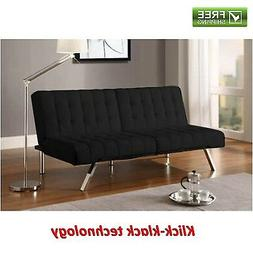 Convertible Futon Black Faux Leather Sofa Bed Modern Sleeper