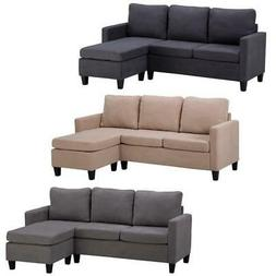 Convertible Sectional Sofa Couch Fabric L-Shaped Home with C