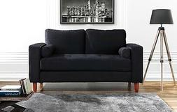 Couch for Living Room, Tufted Velvet Fabric Sofa w/ Back Cus
