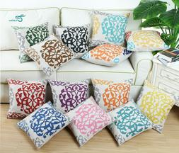 CaliTime Cushion Covers Pillow Cases Three-tone Floral Geome