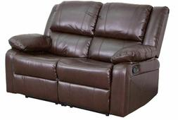 Double Armchair Recliner Brown Faux Leather Reclining Sofa C