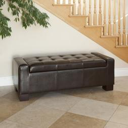 Elegant Contemporary Design Brown Leather Storage Ottoman Be