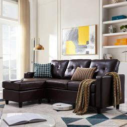 Faux Leather Sectional Sofa L-Shaped Couch W/Reversible Chai