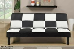 Futon Sofa Bed Couch Black and White Checkered Convertible B