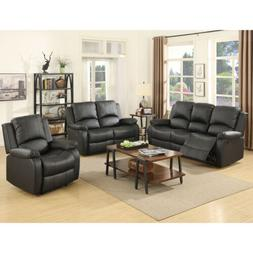 Gold Thread 3+2+1 Sofa Set Loveseat Couch Recliner Leather L