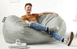 Large Bean Bag Chair Gray Adult Giant Couch 6 Ft Fabric Dorm