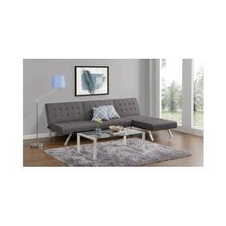 Gray Linen Futon Sofa Sleeper Couch/Bed With Chaise Lounger