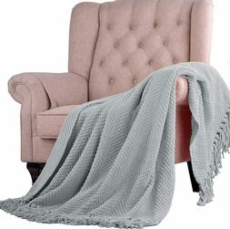 Knitted Tweed Throw Couch Cover Blanket, 50x60, Silver by Ho