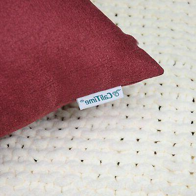 """CaliTime 2 Pack Throw Pillow Covers for Couch X 18"""" Red"""