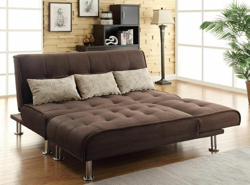 2 PC Futon Couch Chaise Sleeper Set Microfiber