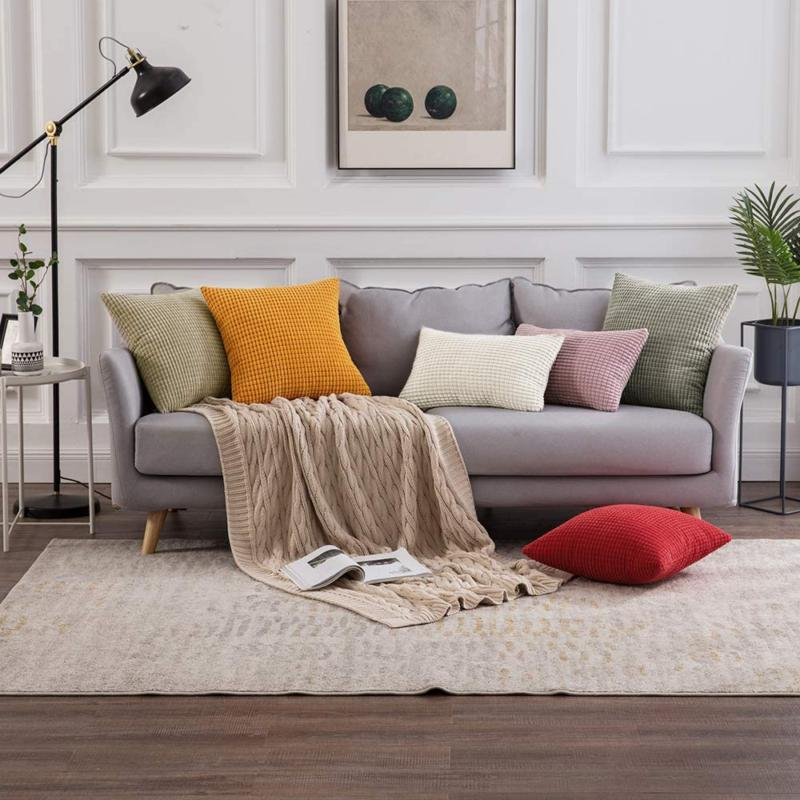 2 Decorative Pillow Covers Solid Cushion Couch Decor
