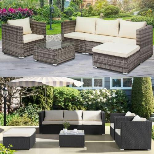 3/4/5/6/7PCS Rattan Wicker Set Sectional Couch Furniture Patio Outdoor
