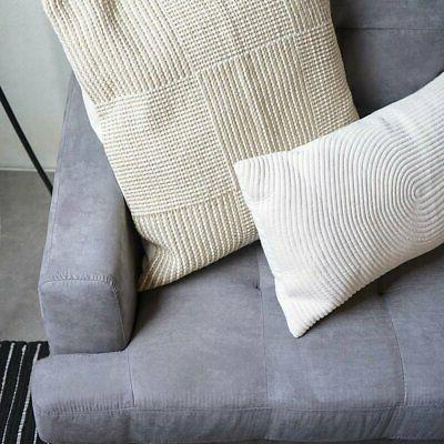 3 Sectional L-Shape Couch with Matching Ottoman Grey