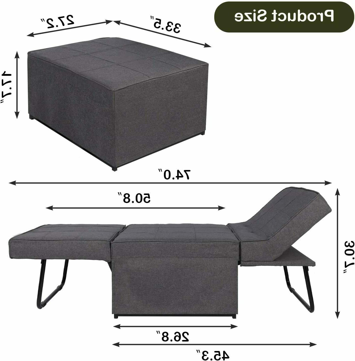 4-in-1 Bed, Sleeper Lounger Chair Ottoman