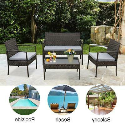 Rattan Cushioned Couch