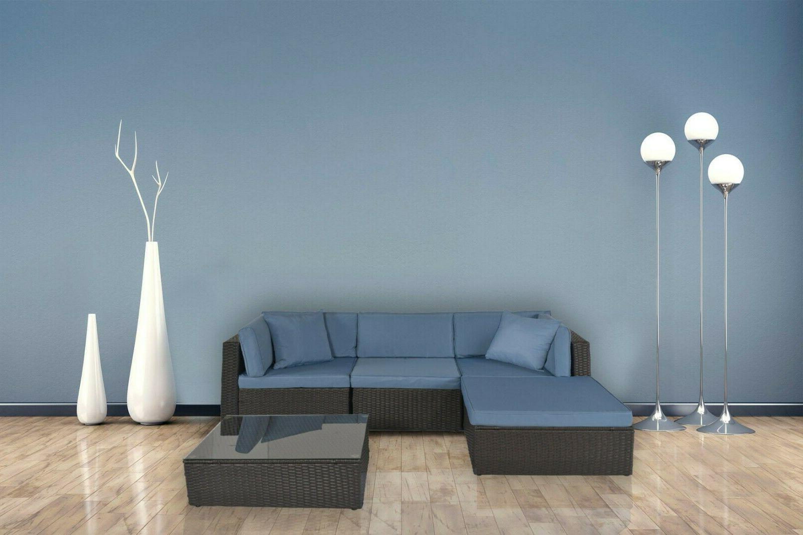 5 Sectional Rattan Wicker New