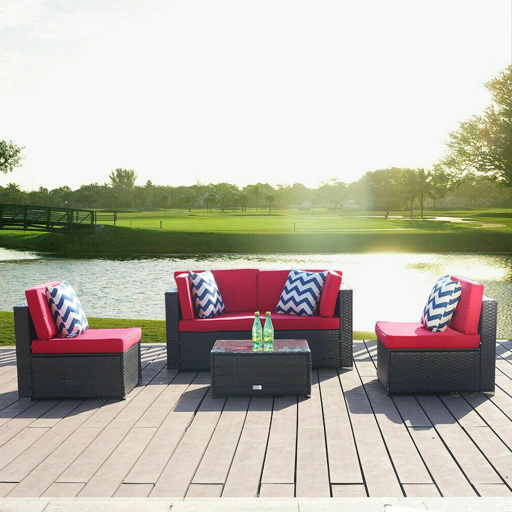 5PCS Patio Sofa Set Outdoor Sectional Couch US