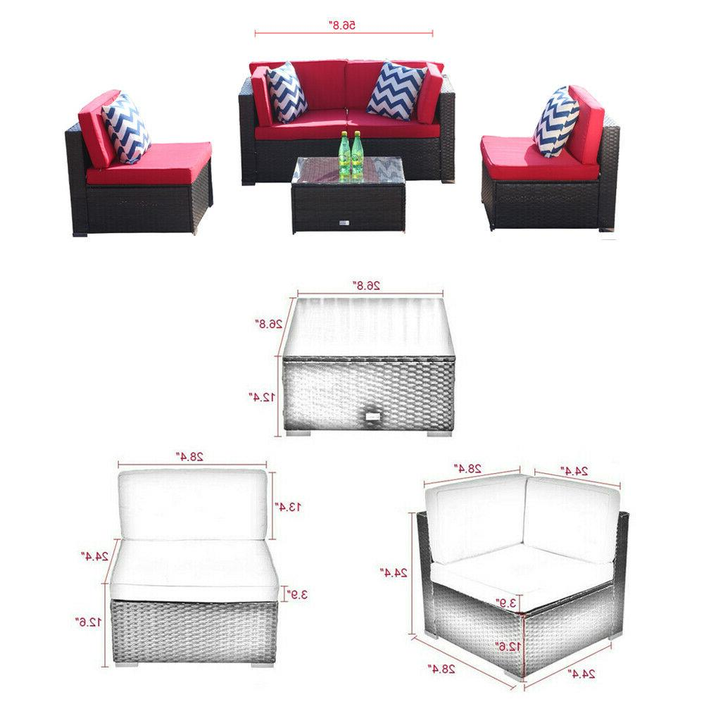 5PCS Patio Rattan Sofa Cushioned Outdoor Sectional Couch