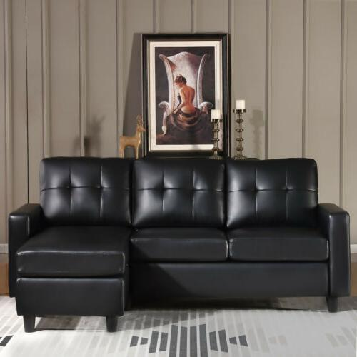 Black Faux Leather Sofa L-Shaped Couch W/Reversible Chaise Small Space