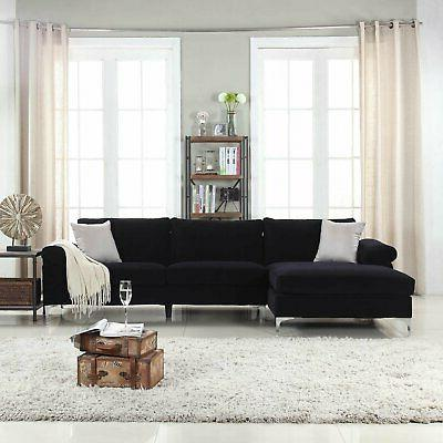 Black Sectional Sofa, with Wide Chaise