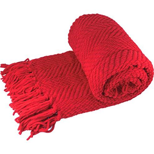Knitted Cover Blanket, 60, Chili
